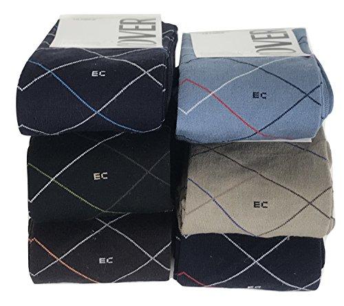 3/6 paia calze Enrico Coveri lunghe Cotone Mercerizzato disegno righe oblique (6 paia ass.B)