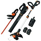 WORX WG931 20V Power Share Cordless Grass, Hedge Trimmer, and Blower, Black and Orange