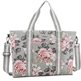 MOSISO Laptop Tote Bag for Women (17-17.3 inch), Canvas Rose Multifunctional Work Travel Shopping Duffel Carrying Shoulder Handbag Compatible with MacBook, Notebook and Chromebook, Grey