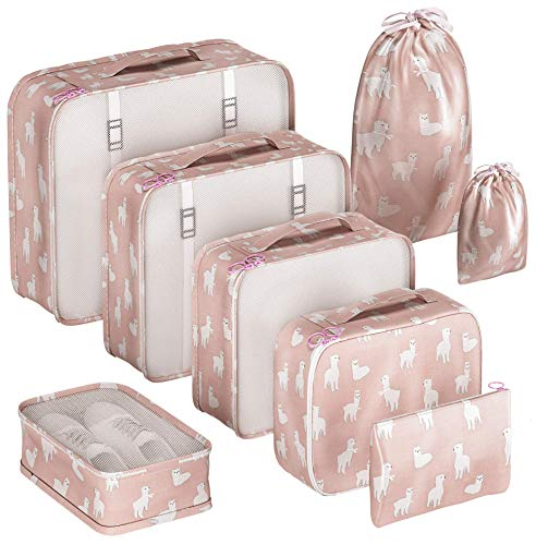 Packing Cubes Set for Suitcases Luggage Organizer Weekender Travel Essentials Classic & Elegant Design Gift Choice (White Cactus)