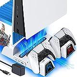 OIVO Supporto Verticale PS5 con Ventola di Raffreddamento e EU-Adattatore per Console Playstation 5, Supporto PS5 con Caricatore Controller PS5 e Conservazione per 12 Giochi per Sony Playstation 5
