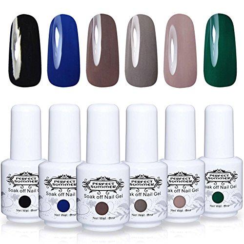 Perfect Summer Soak Off Gel Nail Polish - UV LED Gel Polish Nail Varnish Gift Kits, Pack of 6 Colors 8ML#004