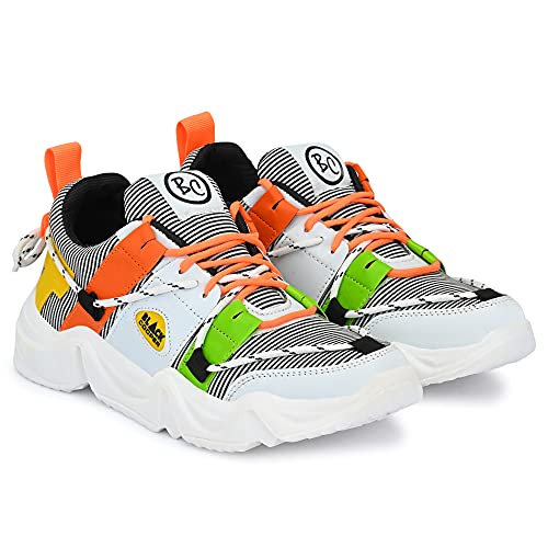 Black Cooper Men & Boys Latest air Sneakers Shoes (Juta) for Stylish Casual Walking Running Training Sports Gym Cricket Football Hip hop Workout Party of Lightweight Canvas (White, Numeric_6)