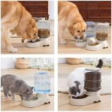 Automatic-Cat-Feeder-and-Water-Dispenser-in-Set-with-Pet-Food-Mat-for-Small-Medium-Dog-Pets-Puppy-Kitten-Big-Capacity-1-Gallon-x-2