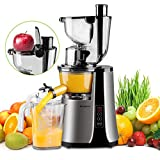 Wide Chute Slow Masticating Juicer Picberm PB2210B Cold Press Juicer Extractor with Two Speed Modes, Juicer Machine for Higher Nutrient Fruit and Vegetable Juice, Quiet Motor & BPA-FREE