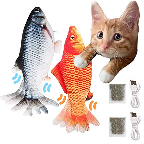 2-Pack-Flopping-Fish-Cat-Toy-118-Inch-Electric-Moving-Fish-Toys-Realistic-Plush-Simulation-Dancing-Wagging-Fish-Cat-Toy-Catnip-Kicker-Bite-Toys-Motion-Kitten-Toy-Interactive-cat-Toys