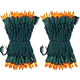 UL Certified 66 Feet 200 Count Orange Christmas String Lights, Pack of 2 Sets 33 Ft 100 Amber Commercial Grade Lights Set, Connectable Decor Lights for Patio Garden Halloween (Orange - Green Wire)