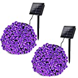 Joomer 2 Pack Solar String Lights 72ft 200 LED 8 Modes Outdoor String Lights Waterproof Fairy Lights for Garden, Patio, Fence, Balcony, Outdoors (Purple)