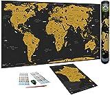 WIDETA Carte du Monde à gratter, Français/XXL (82 x 43 cm), Bonus Carte de France, Autocollant,...