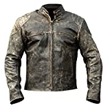 Mens Antique Black Vintage Distressed Retro Motorcycle Biker Leather Jacket XS to 4XL (medium)