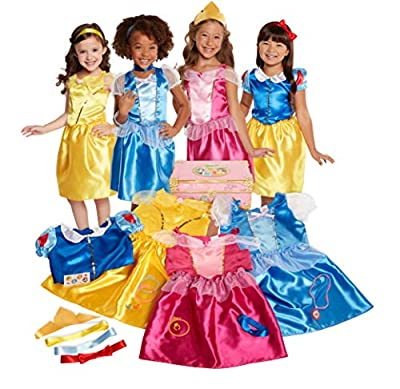 Dressing up has never been so enchanting With 4 different Disney Princess outfits to choose from, your child will have hours of fun dressing up as her favorite characters This Amazon exclusive 21 piece deluxe dress up trunk includes 4 classic Disney ...