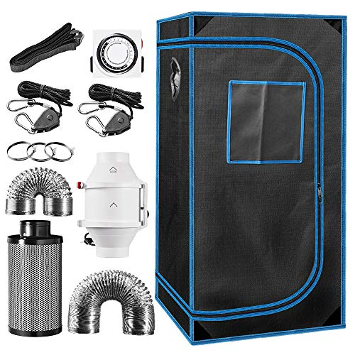 24' x 24' x 48' Indoor Plant Grow Tent Complete Kit, Hydroponics Tent System with 4' Inline Fan + Carbon Filter + Ducting Combos + Timer + Hangers…