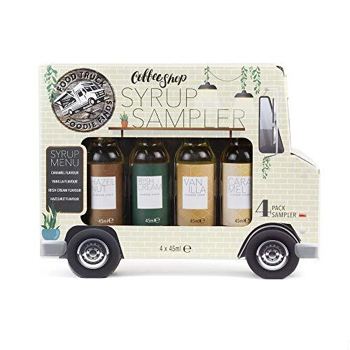 Essen Truck Coffee Shop Sirup Geschenk Set von 4 köstlichen Kaffee Sirup Sampler einschließlich Karamell, Vanille, Irish Cream und Haselnuss