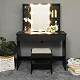 USIKEY Large Vanity Set with 10 LED Lights & 1 Slide Rail Mirror, Makeup Tables with 5 Shelves, Dressing Vanity Table with 2 Large Drawers and 1 Cushioned Stool, Black