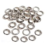 Trimming Shop Silver 20mm Brass Eyelets Grommets with Washers Rust Proof for Pool Covers, Tarpaulin, Vinyl Banners, Art and Craft, DIY Projects, 50pcs