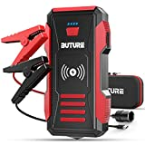 BUTURE 2500A Peak Car Jump Starter (up to All Gas, 8.0L Diesel Engine), 23800mAh Power Bank with 10W Wireless Charger , 12V Auto Battery Booster with Smart Jumper Cable, Quick Charging