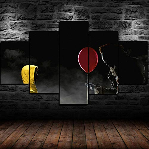 5 panels canvas wall art Pennywise Clown IT Horror Scary movie Wooden Canvas Pictures for Wall Framed Painting Artwork Print Poster for Living Room Bedroom Office Decor Stretched Framed Ready to Hang