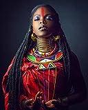 mlpnko Mujer Africana DIY de Pintura al óleo, Pintura por número Kits del Adulto, Pintura crílica40x60cm Marco DE Bricolaje