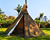 Outdoor Portable Waterproof 3M Camping Pyramid Teepee Tent Pentagonal Adult Tipi Tent with Stove Hole (Brown)