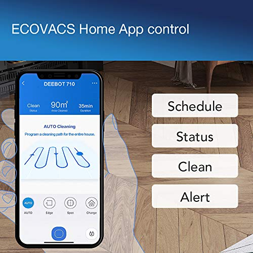 51BUc9hKRbL [Bon Plan Ecovacs] ECOVACS DEEBOT 710 – Aspirateur robot avec technologie de cartographie – Pour sols durs et tapis – Aspirateur sans fil programmable via smartphone et compatible avec Amazon Alexa