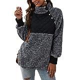 NMQLX Sweat Capuche Femme Pullover Femme Manches Longues Chaud Veste d¡¯Hiver Maillot Noir Taille-46