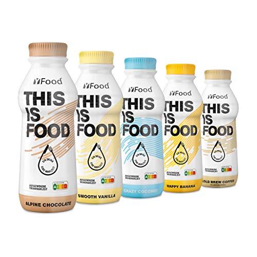 YFood Probierpaket   Laktose- und glutenfreier Nahrungsersatz   34g Protein, 26 Vitamine und Mineralstoffe   Leckere Astronautennahrung – 5 Sorten Tasterpack   Trinkmahlzeit, 5 x 500ml (1 kcal/ml)