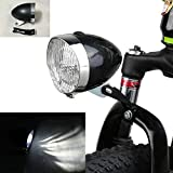 GOODKSSOP Black Vintage Bicycle Bike 3 LED Retro Headlight Front Light Fog Head Night Safety Lamp