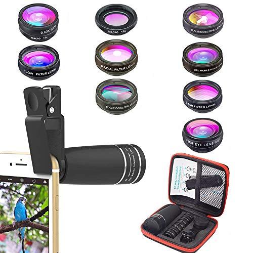 Kit de lentes de cámara para teléfonos 10 en 1 Lente telefoto 10X,...