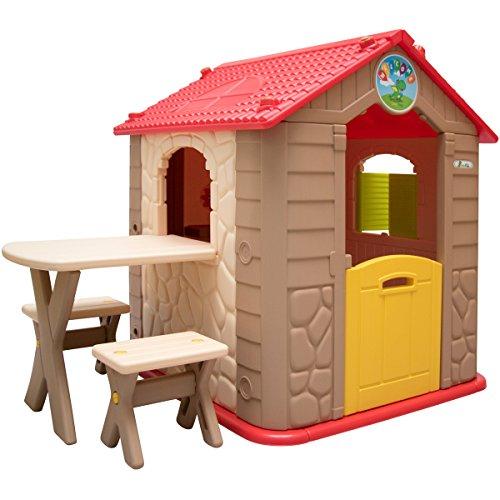 LittleTom Wetterfestes Kinderspielhaus mit Tisch - Kunstoff Spielhaus für Kinder ab 1 Jahr