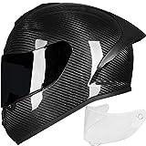 ILM Kids Youth Adult Carbon Fiber Motorcycle Street Bike Helmet Full Face 2 Visors Lightweight Professional Racing Casco DOT Approved (S, Carbon Fiber)