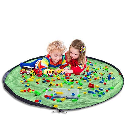 Kinder Aufräumsack - Amble Baby Spielzeug Speicher Tasche - Aufbewahrung Spieldecke für Kinderzimmer Rasen und Strand (150 cm, Grün)