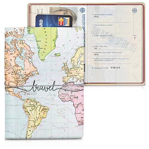 kwmobile Custodia per passaporto - Porta passaporto in design 3D - Con chiusura di sicurezza ad elastico - Protezione per documenti - nero/multicolore