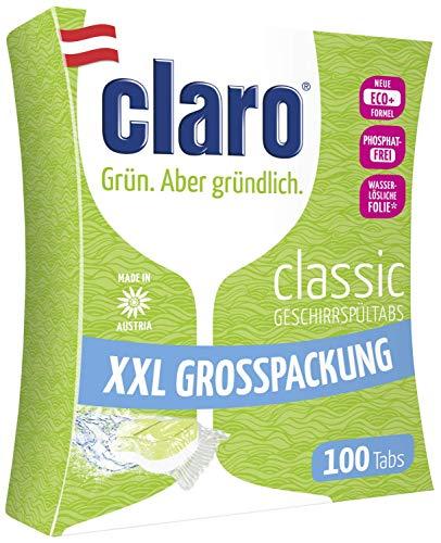 CLARO Classic XXL - 100 Unit Pastiglie Eco Senza Fosfati Per Lavastoviglie In Confezione Risparmio