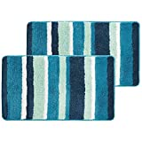 mDesign Soft Microfiber Polyester Non-Slip Spa Mat, Plush Water Absorbent Accent Rug for Bathroom Vanity, Bathtub/Shower - Machine Washable, Striped Design, 34' x 21' - 2 Pack - Teal Blue
