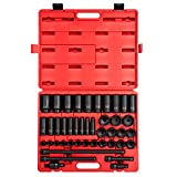 Sunex 2568, 1/2 Inch Drive Master Impact Socket Set, 43-Piece, SAE, 3/8 Inch - 1-1/2 Inch, Standard/Deep, Cr-Mo Alloy Steel, Radius Corner Design, Dual Size Markings, Heavy Duty Storage Case