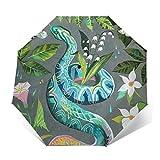 DOWNN Paraguas automático de tres pliegues con impresión exterior 3D colorida, flor de serpiente, impermeable, resistente al viento, duradero, plegable, para hombre y mujer al aire libre