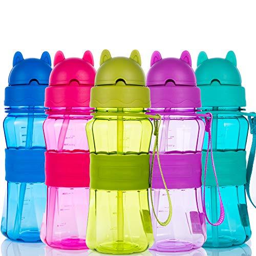 Sigdio - Botella de agua para niños y niñas, con pajita libre de BPA, ideal para el hogar, la escuela y actividades al aire libre, morado