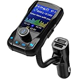 VicTsing 1.8' Color Display Bluetooth FM Transmitter for Car, Wireless Bluetooth Car Adapter with EQ Mode, Power Off, 3 USB Ports, 4 Music Playing, Hands-Free Calls, AUX Input