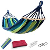 Image of EASY EAGLE Outdoor Cotton Hammock with 60CM Wooden Rods, 220x120CM Hammock with Inflatable Pillow for Garden Yard Camping Beach Patio, Load 300KG, Green-blue Stripes