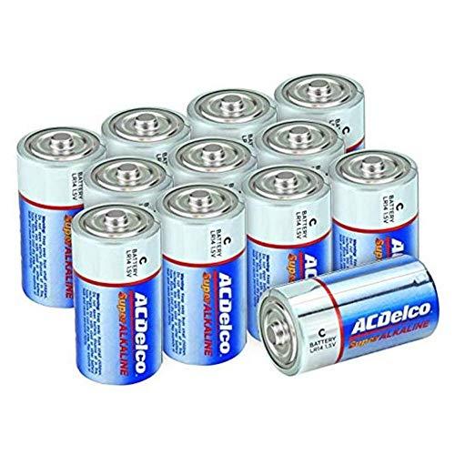 ACDelco 12-Count C Batteries, Maximum Power Super Alkaline Battery, 10-Year Shelf Life, Recloseable Packaging