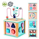 Ulmisfee Activity Cube Toys Baby Educational Wooden Bead Maze Shape Sorter Toys for 1 2 3+ Year Old Boy and Girl Toddlers Gift