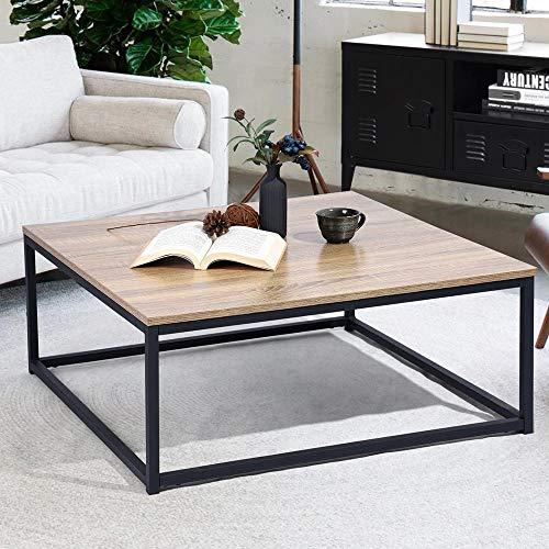 BAKAJI Tavolino Divano Tavolo caff da Salotto Quadrato Design Moderno Industriale Struttura in Metallo con Piano d'appoggio in Legno MDF Dimensione 80 x 80 x 34 cm (Quercia)