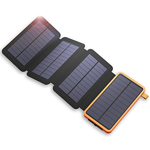 X-DRAGON Caricatore Solare Power Bank 20000mAh con 4 pannelli solari, Dual USB, Torcia LED Portatile...
