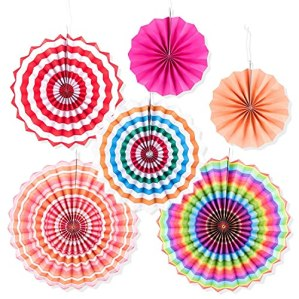 RELEMTRA-Paper-Fans-Decorations-Round-Pattern-Paper-Party-Fans-Party-Decoration-Materials-Party-Fans-for-Decoration-Baby-ShowerBirthday-Party-WeddingGraduation-Events-Set-of-6-Rainbow