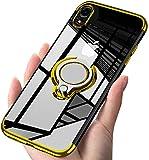 iPhone XR ケース リング クリア透明 耐衝撃 全面保護 磁気カーマウントホルダー スタンド 柔……