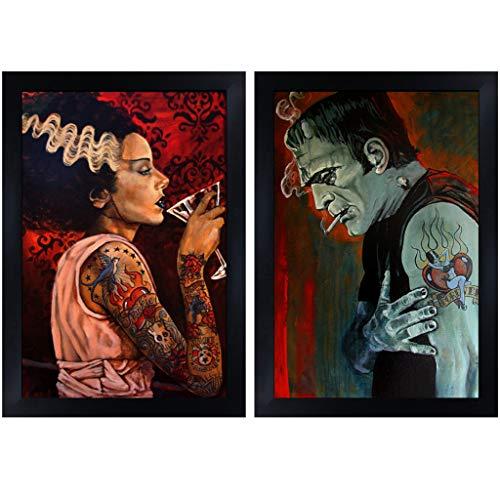 Frankenstein & Bride by Mike Bell Monster Love Tattoo 2 Framed Wall Art Prints