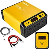 Hoenjuno 1200W Pure Sine Wave Power Inverter Generator DC 12V to AC 110-120V Power Source with 15 Feet Remote Control Cable