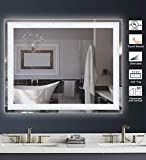 MAGGIIC Crystal Inlay UL Listed 28 x 36 Inch Horizontal&Vertical Dimmable LED Bathroom Makeup Vanity Mirror Wall Mounted Mirror Anti-Fog+IP44 Waterproof +CRI90