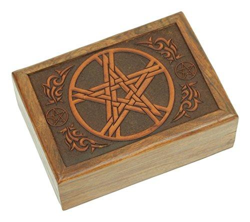 Find Something Different Grabado Puntas de Tarot, Caja de almacenaje de Madera de la India, bambú, Multicolor