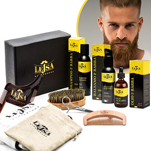 9 in 1 - LEJSA - Kit per la barba uomo completo professionale - Ingredienti 100% Naturale - Contiene Shampoo Balsamo Olio Pettine Spazzola Forbici Sagoma rasatura Grembiule e sacca viaggio